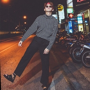 Hong Kong wind students high-necked striped long-sleeved T-shirt wild Slim Japan and South Korea Harajuku trend BF wind men and women shirt