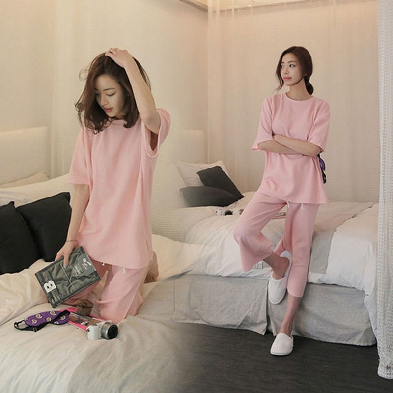Spring and summer fashion short sleeved cotton pajamas loose Sweater XL thick section Haren pants female leisure suit