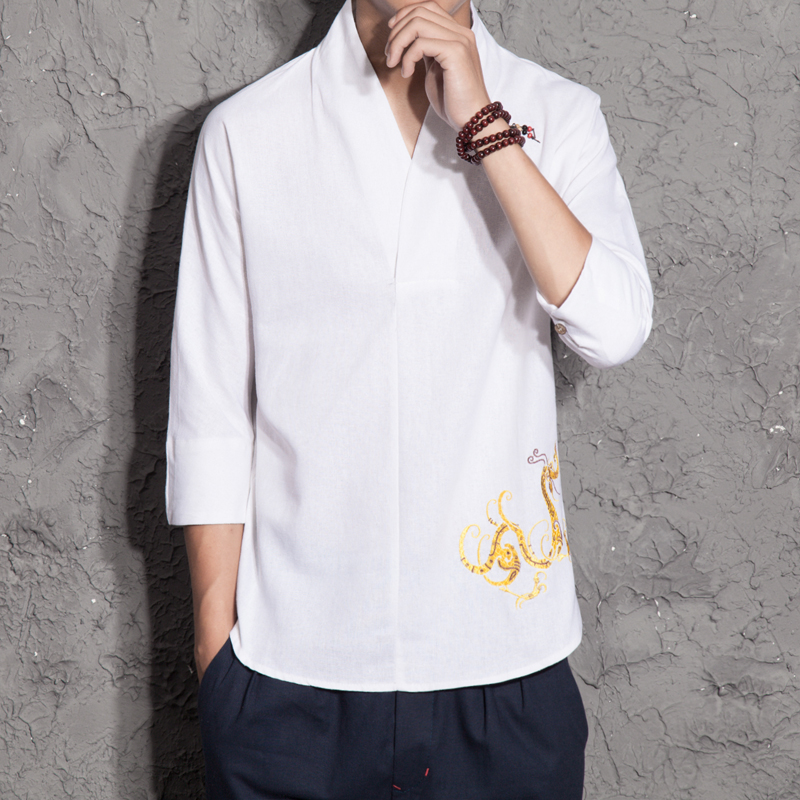 China wind young men Chinese cotton linen jacket costume Hanfu kimono modified male short sleeved summer lay clothes