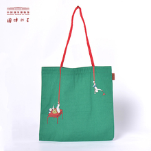 National Museum of China creative hit color shoulders female canvas bag Chinese style student girlfriends shopping bag