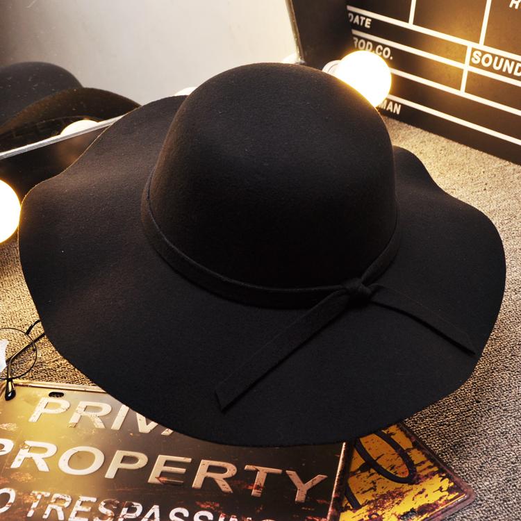 儿童毛呢帽小礼帽黑色帽子女秋冬季英伦爵士帽小学生圆顶大沿帽潮