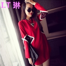 Hongkong fashion fashion T-shirt dress female size Ms. in the long section of loose backing skirt