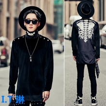 Counter genuine dark turtleneck sweater male personality skeleton printing original night wind stylist Club shirt