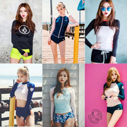 South Korean conservative sunscreen swimsuit show thin waist long sleeved women cover belly split two or three piece swimsuit snorkeling jellyfish