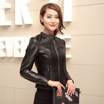 2016 new Korean version of the spring and Autumn period female cropped slim leather leather single locomotive Haining leather jacket