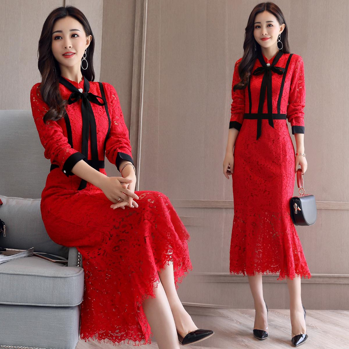 秋冬女装高端蕾丝红色连衣裙伴娘结婚新娘装敬酒订婚礼服回门衣服