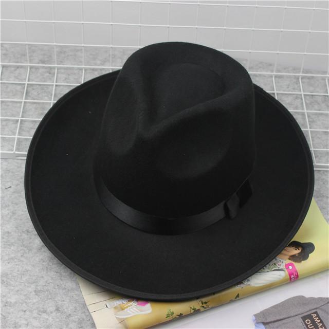 上海滩 大沿礼帽男士 黑色复古英伦帽子女爵士毡帽儿童表演舞蹈帽