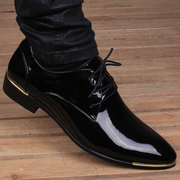The British men's summer breathable leather shoes in Korean pointed business increased 6cm bright face's casual shoes