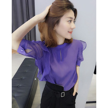 European station 2018 spring and summer new European goods tide Korean fashion shirt short sleeve shirt Loose chiffon shirt women