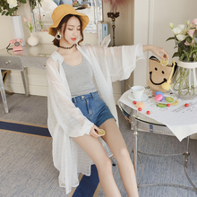 Chiffon white shirt, women's long sleeved summer wear 2018 new sunscreen clothes, long ins super fire BF thin coat.