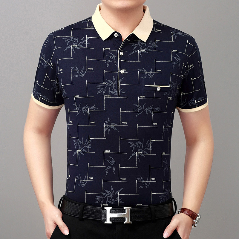 夏季中年人男士冰丝光棉短袖t恤潮流中老年40-50岁爸爸装夏装衣服