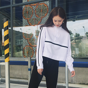 Chic ulzzang and BF all-match Korean Harajuku sweater loose and long sleeve short paragraph 2017 new female students