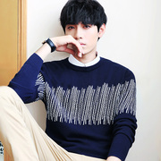 Men's sweater plus velvet thick round neck long-sleeved sweater Korean trend men's clothing shirt primer winter jacket