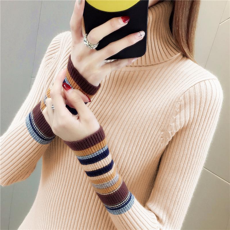高领毛衣女加厚秋冬新款短款针织打底衫长袖百搭修身紧身套头内搭