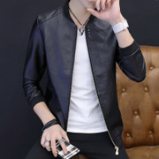 The young handsome men's coats leather fall clothes Mens Leather Jacket autumn Korean cultivating spring tide
