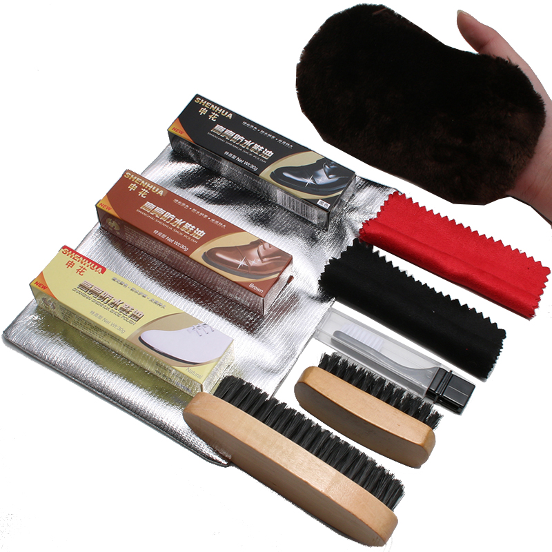 Shoe brush horsehair brushes fur leather shoes oil black mane brush clean shoes suit leather shoes shoe polish tools