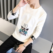 Men's winter long sleeved T-shirt with slim neck shirt cashmere hoodies tide students warm clothing Menswear