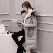 The new season's clearance in the long down jacket lady fur collar size slim slim knee Korean dress coat