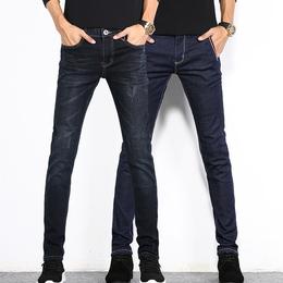 新款春季男士牛仔裤男修身型小脚韩版潮流男生夏季紧身弹力长裤子