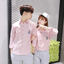 2017, the new lovers wear autumn sleeved shirts, men and women pure color embroidery, Korean version, casual lovers, shirts tide students