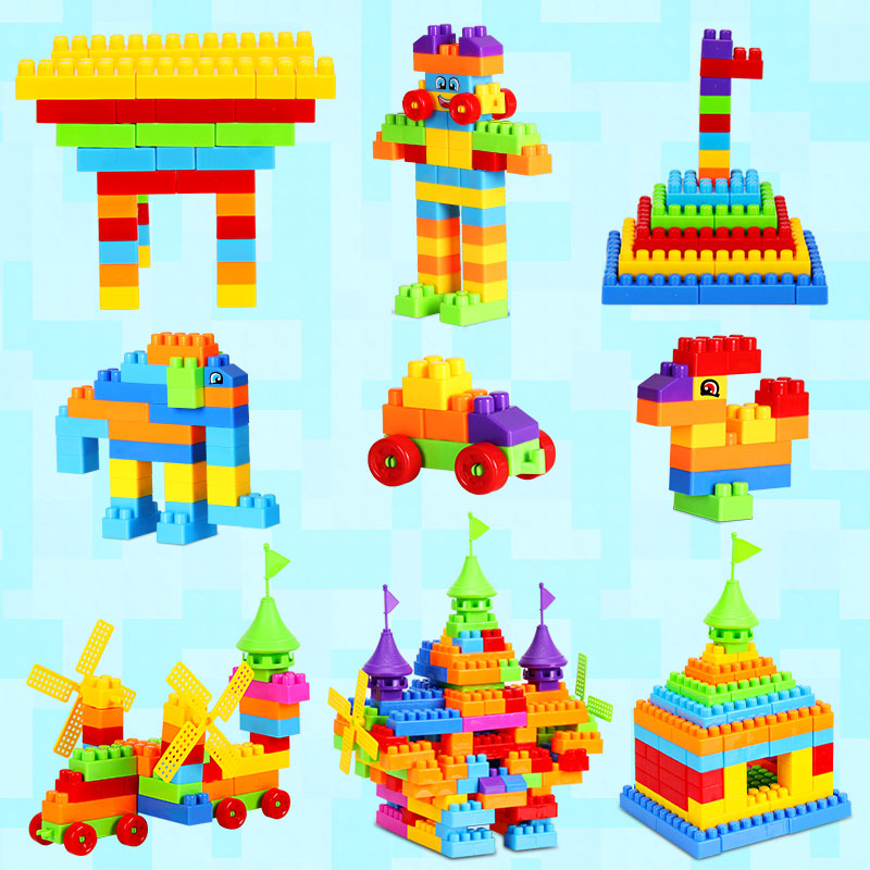 The biggest children's educational plastic large particles of wood boy girl toy toy bricks