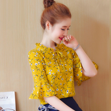 Chiffon chiffon shirt short-sleeved women's summer 2018 new cover stomach was thin sweet lace top Western style super-xian