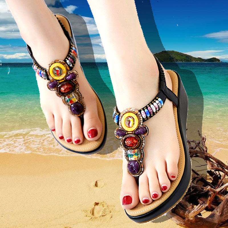 2017民族风厚底夹趾凉鞋女夏波西米亚水钻串珠沙滩鞋中跟罗马女鞋
