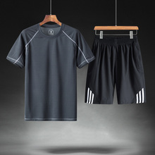 Sports suit male middle-aged ice silk 2018 new summer short-sleeved summer shorts two-piece daddy men's clothing