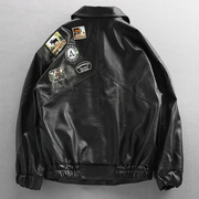 Europe and the United States Street trend loose badge locomotive suit leather man pilot Air Force jackets jacket boom