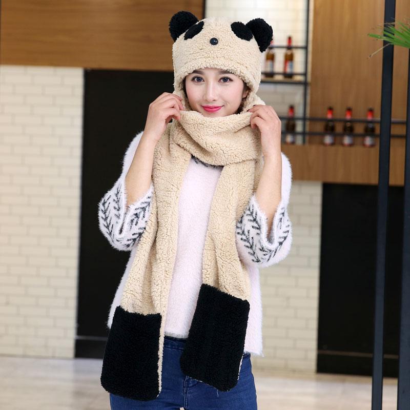 韩版冬季女可爱卡通熊猫头连体围脖加厚保暖帽子手套三件一体围巾