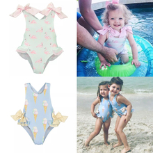 18 summer ins Spain children's clothing children's swimsuit girls ice cream female baby baby one-piece swimsuit with cap