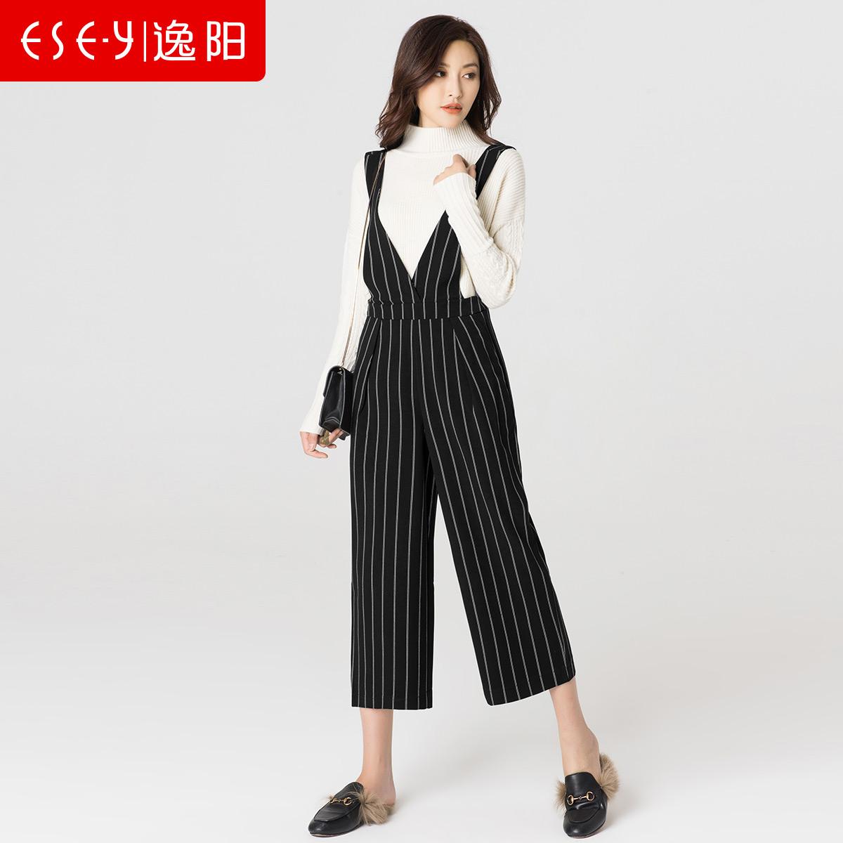 逸阳女冬季时尚大V领个性潮流洒脱率性测拉链背带阔腿裤5703