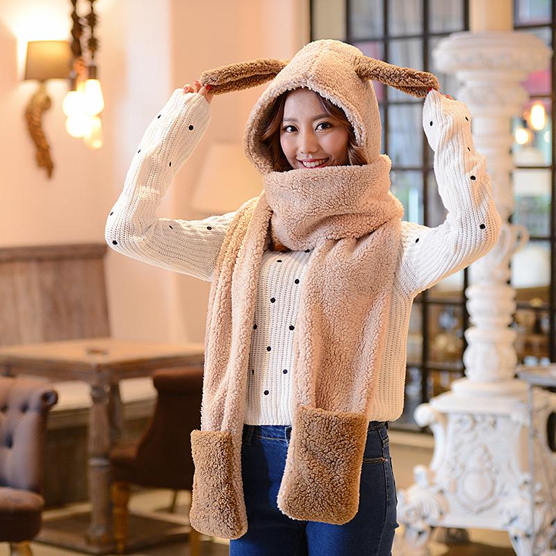 韩版亲子保暖双层加厚儿童冬天女童帽子围巾手套三件套装一体帽