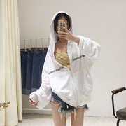 MANBO Korean female summer loose thin Hooded zip up BF wind bamboo cotton long sleeved cardigan coat sunscreen