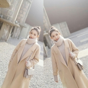 Korea 2017 new spring loose wool coat in the long wool coat dress code.