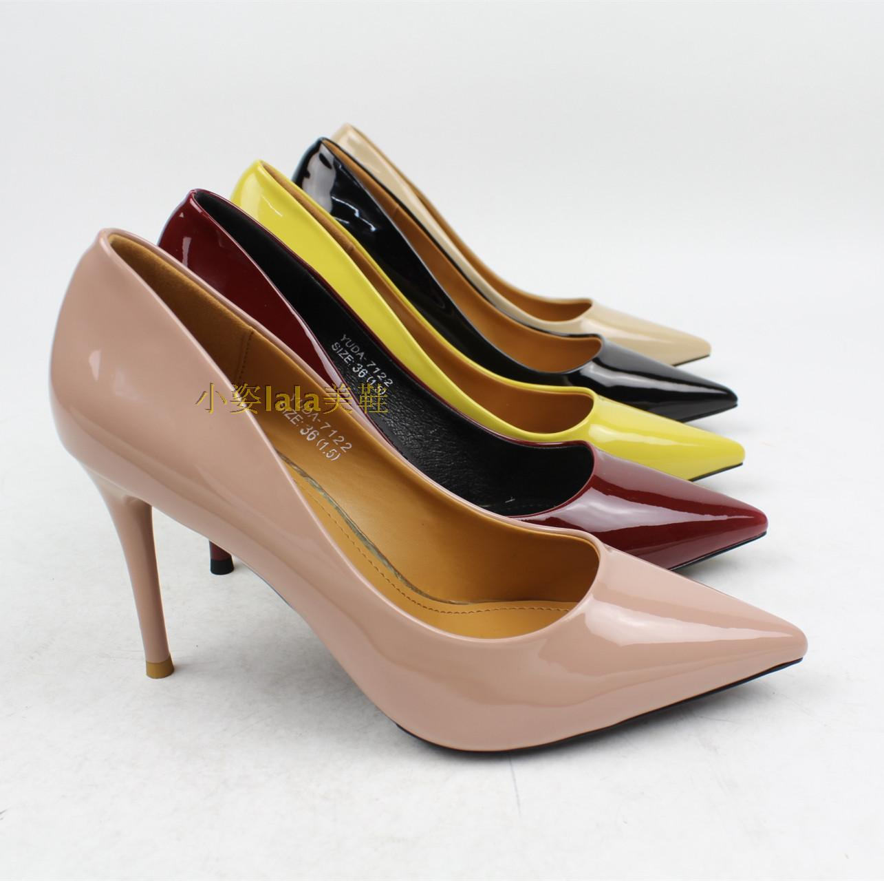 7122 genuine Yuda PU pointed leather surface light version of the classic simple style stiletto shoes shoes single bright colors