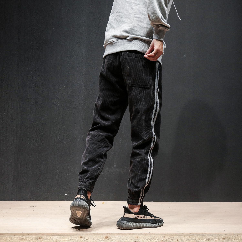 原创潮牌冬季新款时尚男式大码宽松加厚薄绒束脚卫裤休闲运动长裤