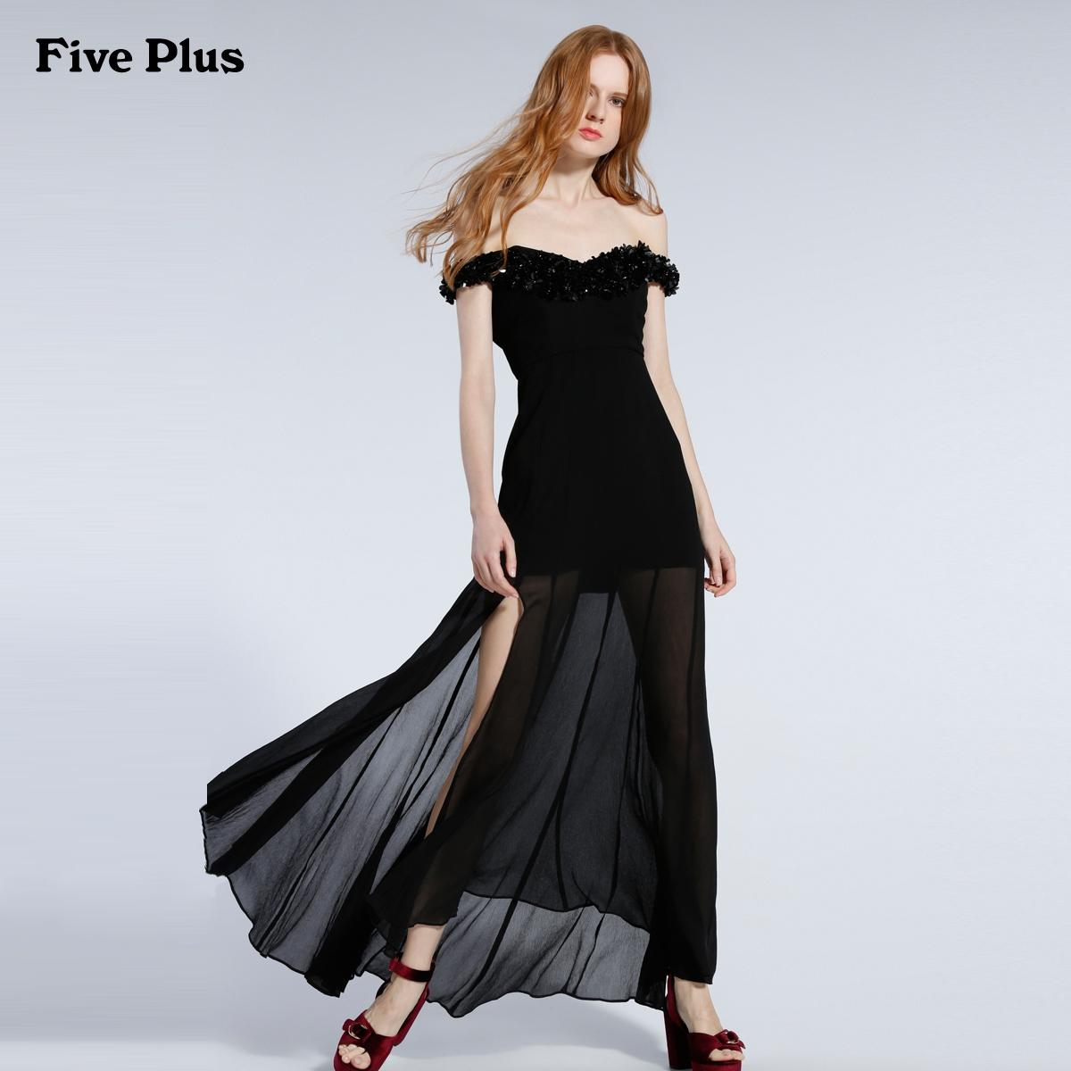 【年】Five Plus透视开叉露肩小礼服2HF5085740