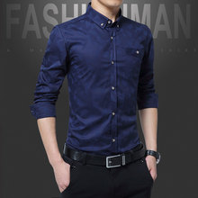 Mens Long sleeve shirt shirt trousers collocation pattern of middle-aged men long formal business clothes dad adults