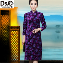 200 kg weight m cheongsam dresses plus size MOM improved Chinese Red long sleeve long years of marriage party clothing
