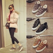With thick cotton shoes and women in autumn and winter, 2017 new Korean students all-match shoes black shoes warm winter shoes