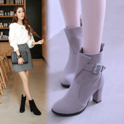Ms. Martin, 2017 new boots boots boots rough HEELS SHORT BOOTS round winter boots Scrub
