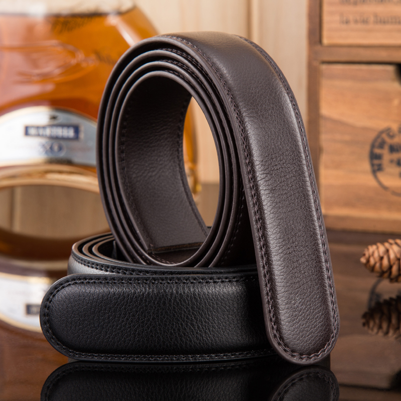 Don't take the scalp with male leather belt buckle automatic middle-aged man cow leather belt buckle body youth without head