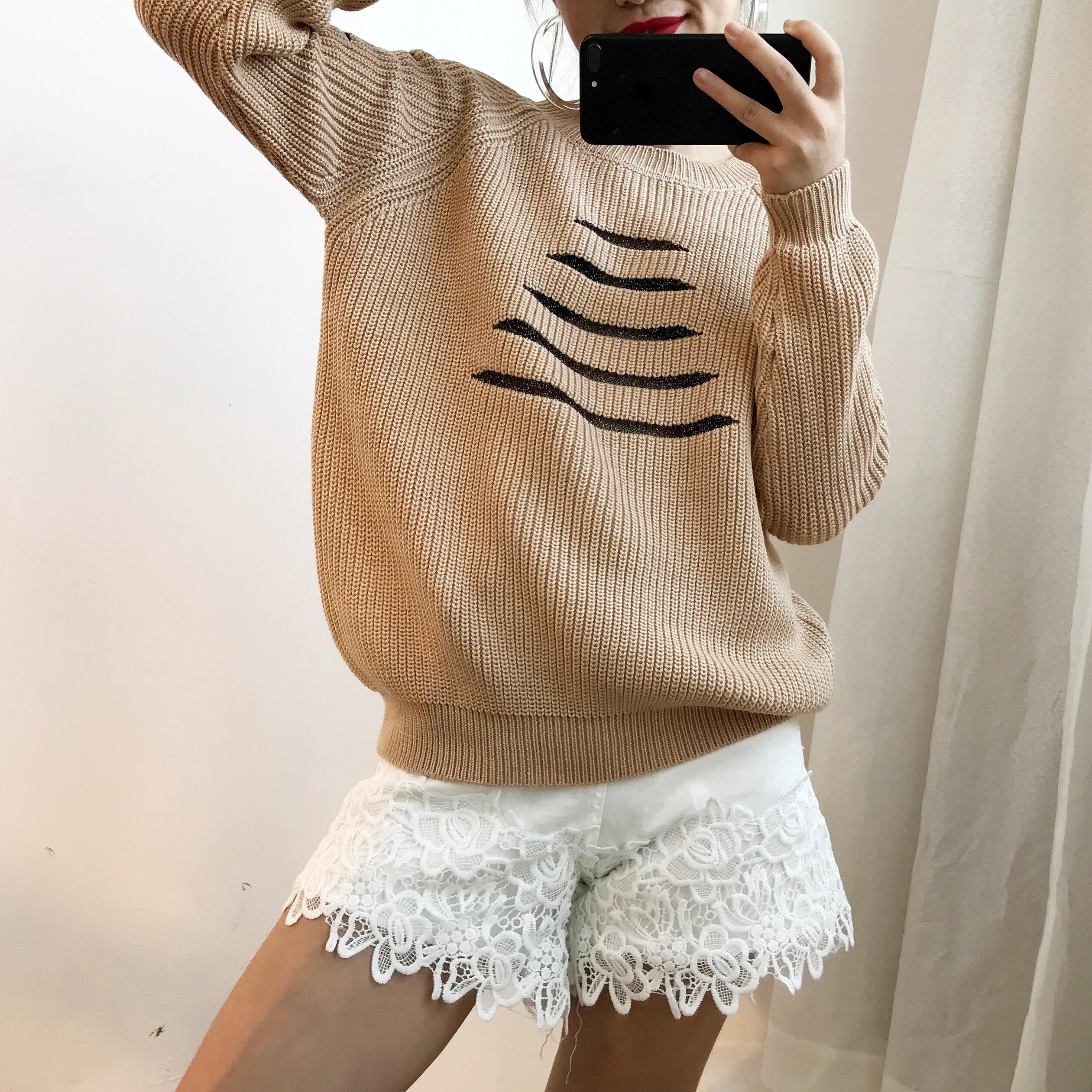 2017秋冬新款圆领毛衣女韩版套头学生长袖宽松针织打底衫百搭亮丝