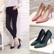Spring and autumn pink pointed high-heeled shoes, superfine heel princess shoes, 10cm women's shoes, suede shoes, shallow shoes, single shoes