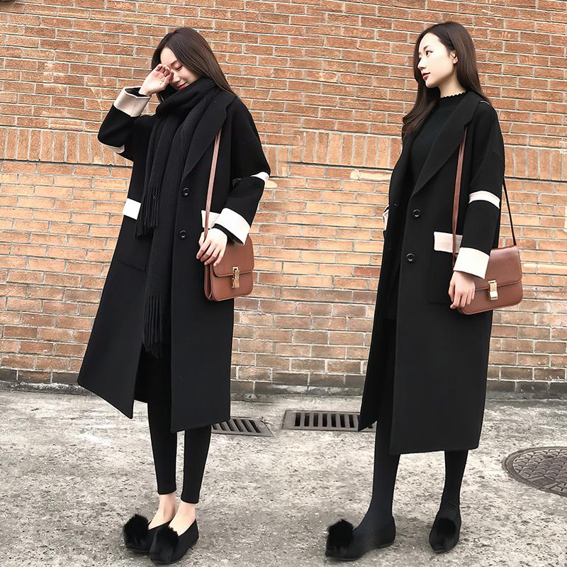 2017秋冬季新款韩版女装宽松显瘦呢大衣时尚中长款加厚毛呢外套女