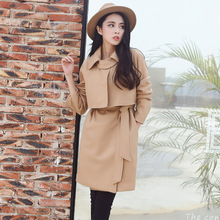 150 little short and small code wool coat camel waist lace wool woolen coat female