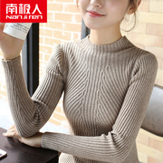 Nanjiren half female high necked sweater short sleeve head slim long sleeved sweater 9a11c thickened bottoming shirt