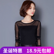 Warm winter coat new large size women elastic velvet T-shirt long sleeve shirt thickening gauze female T-shirt