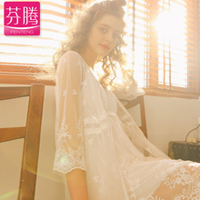 Finten sex appeal pyjamas female sense gauze husband skirt lace thin two pieces of palace wind condole belt sleeping skirt female summer